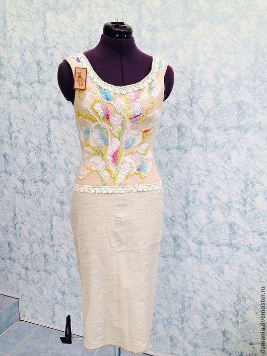 Платья ручной работы. Ярмарка Мастеров - ручная работа. Купить Валяное платье Леди. Handmade. Абстрактный, блестящий, платье из хлопка