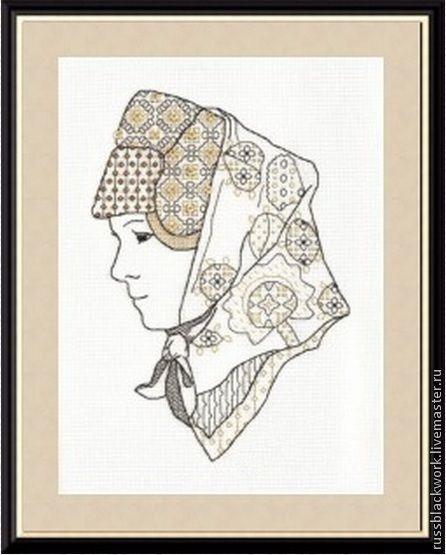 Портрет (схема для вышивки) молодой замужней женщины в традиционному русском головном уборе и платке, выполненный в технике черной вышивки blackwork.