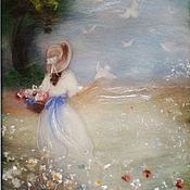 Картины и панно handmade. Livemaster - original item Girl and white doves. Picture of wool. Handmade.