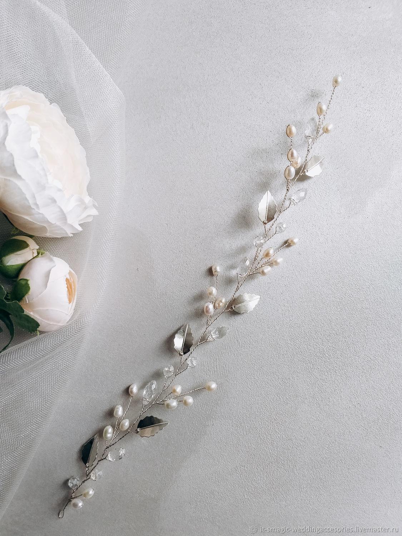 Свадебная веточка с жемчугом, Украшения для причесок, Москва,  Фото №1