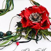 Украшения handmade. Livemaster - original item Brooch Red poppy leather necklace transformable flower. Handmade.
