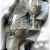 """Подарки к праздникам ручной работы. Ярмарка Мастеров - ручная работа Бокалы """"Жемчужное дерево"""". Handmade."""