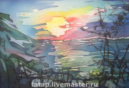 Пейзаж ручной работы. Ярмарка Мастеров - ручная работа. Купить Закат. Море.. Handmade. Солнце, море, закат, горы, пейзаж