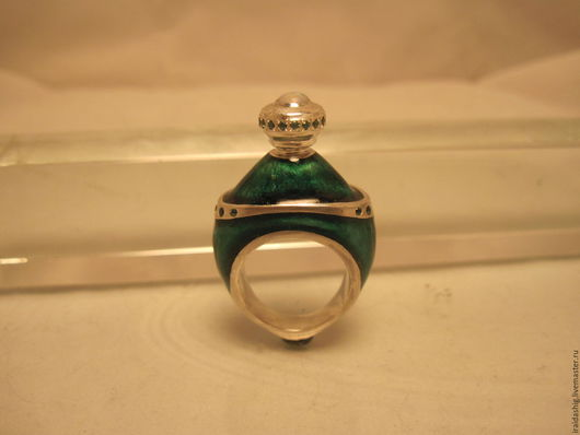 """Кольца ручной работы. Ярмарка Мастеров - ручная работа. Купить кольцо- флакон """"Изумрудный"""". Handmade. Тёмно-зелёный, серебряное кольцо"""