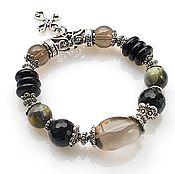 Украшения handmade. Livemaster - original item Bracelet with black agate and Topaz. Handmade.