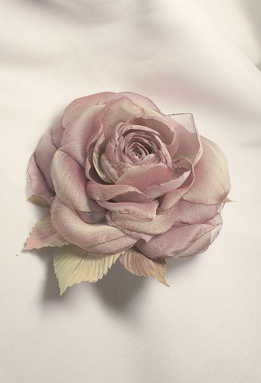 """Броши ручной работы. Ярмарка Мастеров - ручная работа. Купить Роза-брошь """"Палево-розовая"""". Handmade. Брошь цветок, шёлк"""