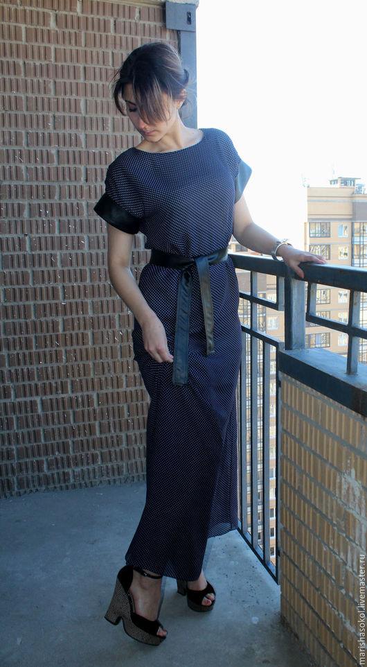 """Платья ручной работы. Ярмарка Мастеров - ручная работа. Купить Платье из шифона """"Юстина"""". Handmade. Тёмно-синий, платье из шифона"""