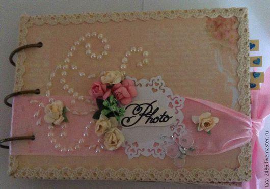 Свадебные фотоальбомы ручной работы. Ярмарка Мастеров - ручная работа. Купить свадебный альбом. Handmade. Розовый, свадебный фотоальбом, рогожка