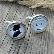 Украшения handmade. Livemaster - original item Cufflinks silver plated Sherlock (large). Handmade.