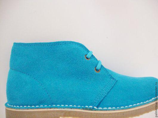 Обувь ручной работы. Ярмарка Мастеров - ручная работа. Купить Бирюзовые ботинки из замши. Handmade. Бирюзовый, эксклюзивные ботинки, стильный