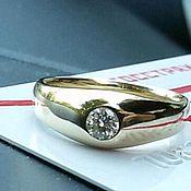 Кольца ручной работы. Ярмарка Мастеров - ручная работа Мужское кольцо с бриллиантом 0.44 карата.. Handmade.