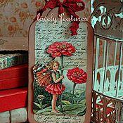 """Открытки ручной работы. Ярмарка Мастеров - ручная работа Открытка-бирка серия """"Дети-цветы""""  гербера. Handmade."""