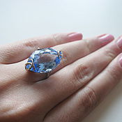 Украшения handmade. Livemaster - original item Ring with Swiss blue Topaz. 925 sterling silver st.. Handmade.