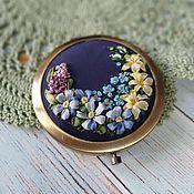 Сувениры и подарки handmade. Livemaster - original item Copy of Mirror pocket with embroidery silk ribbons. Handmade.
