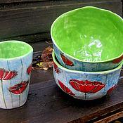 """Посуда ручной работы. Ярмарка Мастеров - ручная работа Набор посуды """"Красные маки"""". Handmade."""