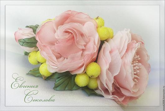 Диадемы, обручи ручной работы. Ярмарка Мастеров - ручная работа. Купить Ободок с цветами Нежность роз. Handmade. Бледно-розовый