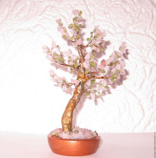 Деревья ручной работы. Ярмарка Мастеров - ручная работа. Купить Дерево счастья из розового кварца и хризолита. Handmade. Розовый, гипс