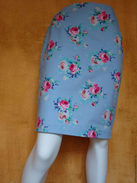 Юбки ручной работы. Ярмарка Мастеров - ручная работа. Купить Юбка джинсовая голубая с розами. Handmade. Голубой, юбка яркая