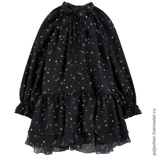 Одежда для девочек, ручной работы. Ярмарка Мастеров - ручная работа. Купить Платье воздушное из вуали. Handmade. Чёрно-белый, платье