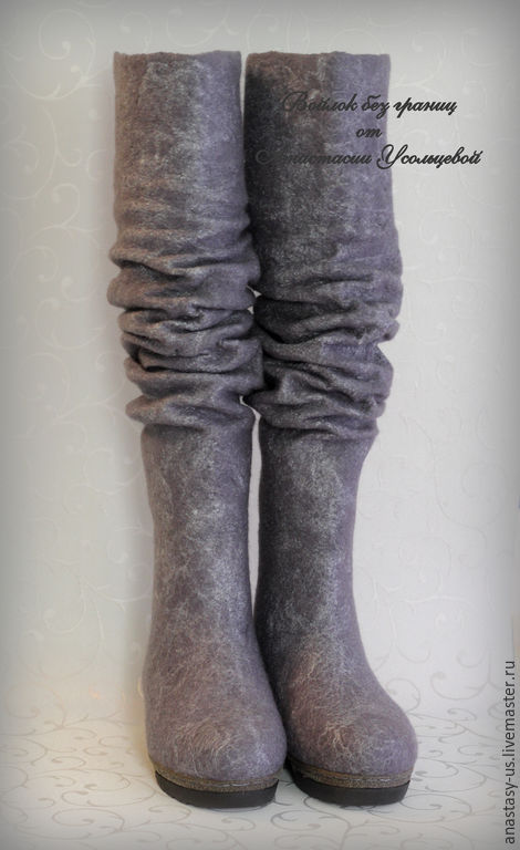 Обувь ручной работы. Ярмарка Мастеров - ручная работа. Купить Сапожки валяные. Handmade. Серый, сапожки ручной работы
