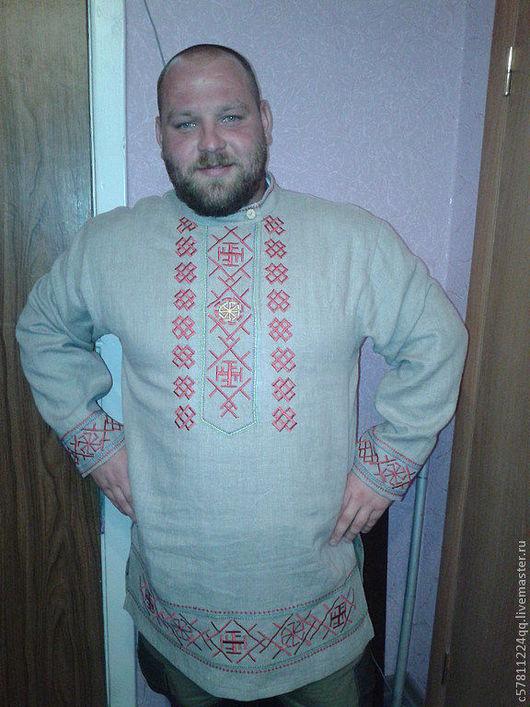 """Одежда ручной работы. Ярмарка Мастеров - ручная работа. Купить """"Русский богатырь"""". Handmade. Серый, рубашка, Вышивка крестом, мужской"""