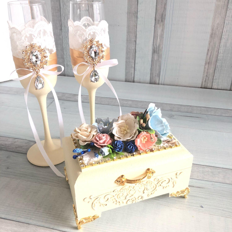glasses wedding: Wedding glasses, garter and ring box, Wedding glasses, Moscow,  Фото №1