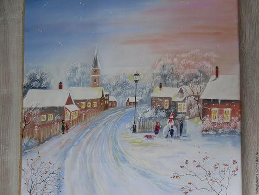 Город ручной работы. Ярмарка Мастеров - ручная работа. Купить Картина . Зимний городок.. Handmade. Голубой, зима, зимний пейзаж