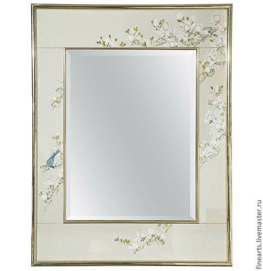 Великолепное весеннее цветение нежных праздничных и изысканных цветов в вашем доме . Зеркало, которое не просто предмет обихода, а настоящее произведение искусства