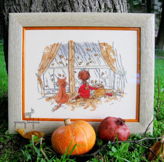 """Люди, ручной работы. Ярмарка Мастеров - ручная работа. Купить Картина вышивка крестом """"Я, мой кот и Осень"""". Handmade."""