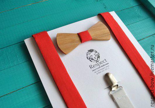 Комплекты аксессуаров ручной работы. Ярмарка Мастеров - ручная работа. Купить Деревянная бабочка галстук + красные подтяжки / Комплект Мальборо. Handmade.