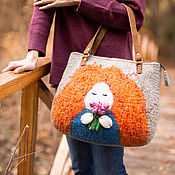 Сумка-шоппер ручной работы. Ярмарка Мастеров - ручная работа Сумка-шоппер: Модная сумка из войлока - Рыжуха. Handmade.