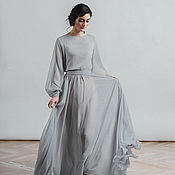 Свадебный салон handmade. Livemaster - original item A simple dress in dusty grey color long sleeve Nirvana. Handmade.