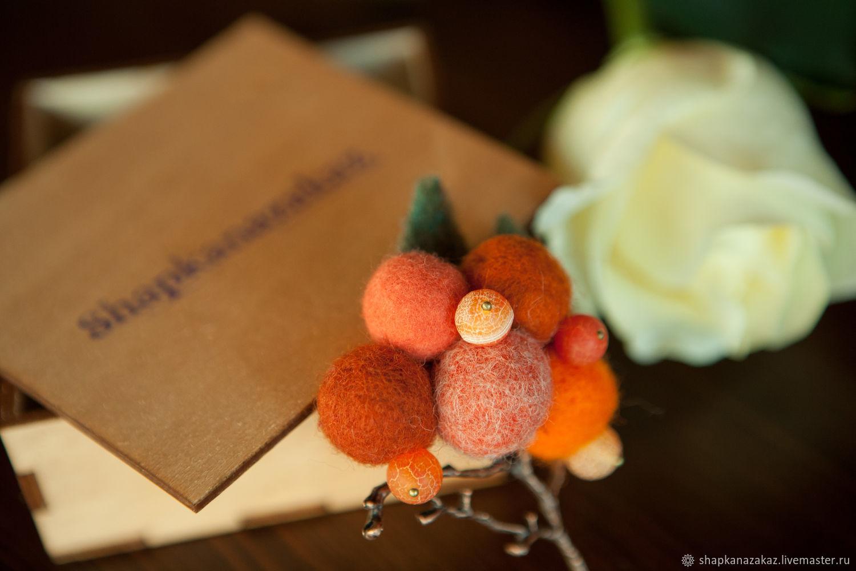 """Брошь валяная оранжевая """"Апельсиновый рай"""", Броши, Москва, Фото №1"""