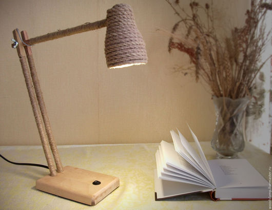 Освещение ручной работы. Ярмарка Мастеров - ручная работа. Купить Настольная лампа из дерева и джутового каната с светодиодной лампой. Handmade.