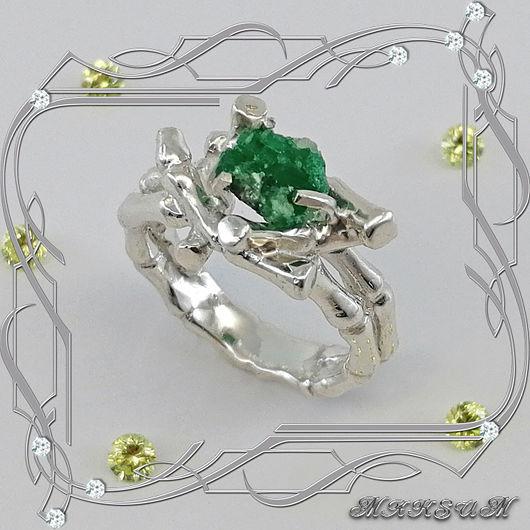 Tropicana ring 925 sterling silver, emerald crystal, Rings, St. Petersburg,  Фото №1