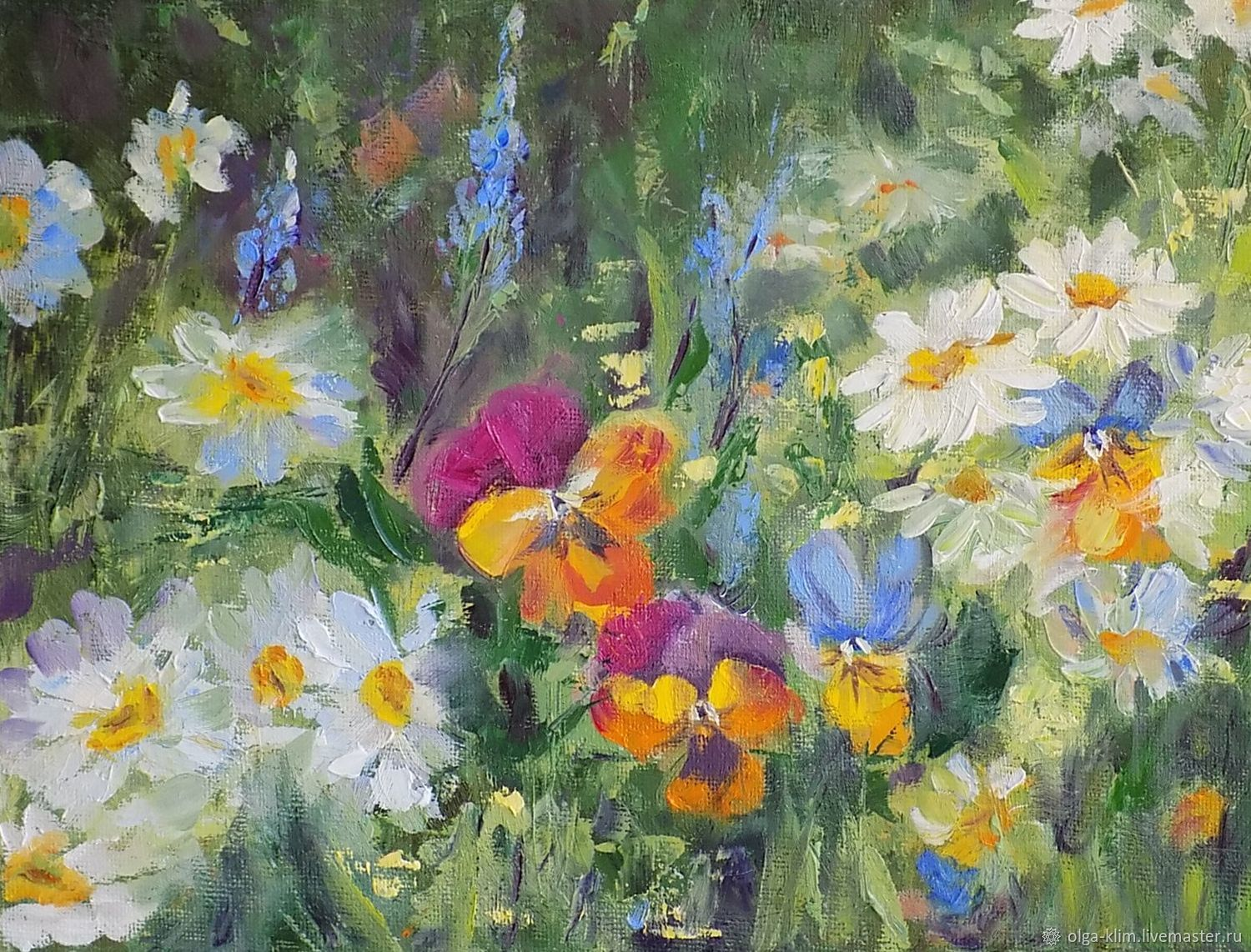 Painting Flowers in a clearing. Daisies and violets in green grass oil, Pictures, Ekaterinburg,  Фото №1