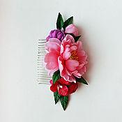 Украшения ручной работы. Ярмарка Мастеров - ручная работа Гребень для волос с розовым пионом. Handmade.