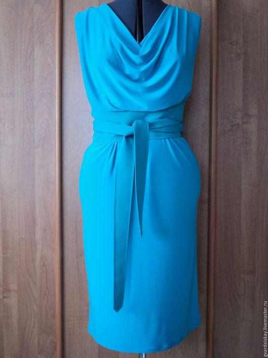 Платья ручной работы. Ярмарка Мастеров - ручная работа. Купить Платье с водопадом. Handmade. Бирюзовый, платье летнее, лето, эластичное