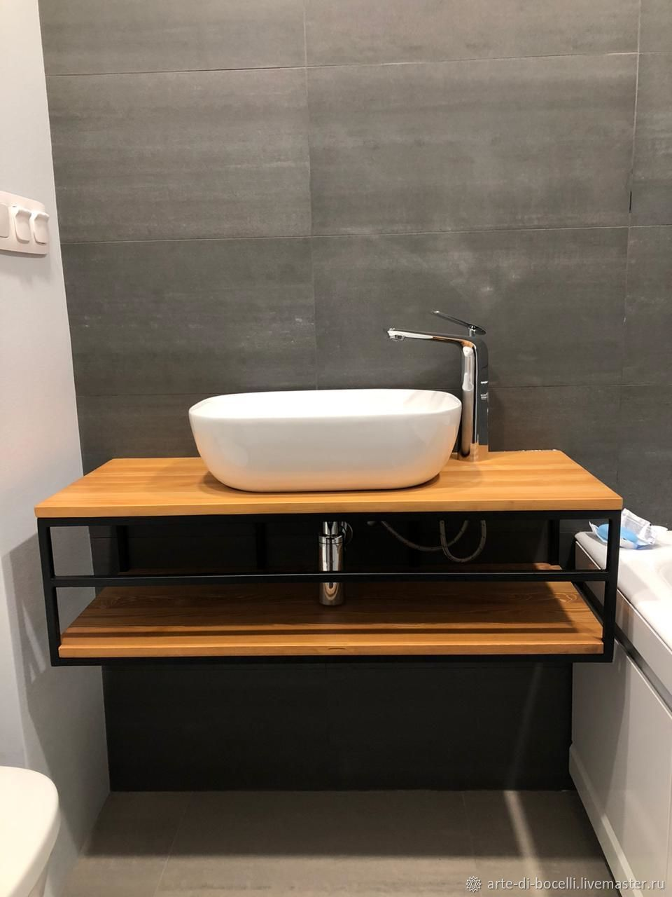 Console under the sink from the array. Cabinet-stand in the bathroom made of wood, Furniture for baths, Moscow,  Фото №1