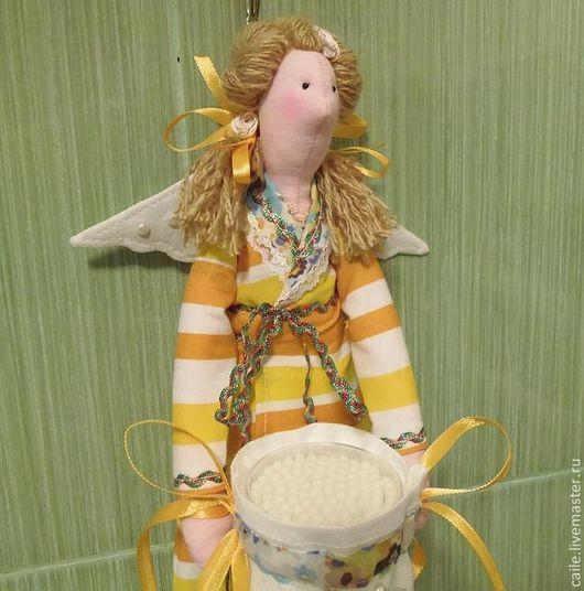 Ванная комната ручной работы. Ярмарка Мастеров - ручная работа. Купить Хранительница ватных дисков и палочек-3. Ангел Тильда. Handmade.