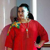 Одежда handmade. Livemaster - original item Dress cocoon linen orange. Handmade.