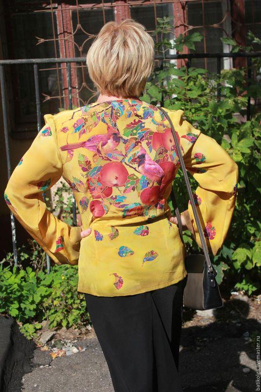 Большие размеры ручной работы. Ярмарка Мастеров - ручная работа. Купить Шелковая блуза Батик Осенний сад. Handmade. Комбинированный