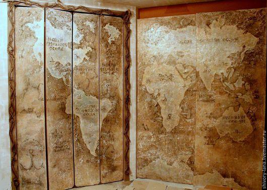 Декор поверхностей ручной работы. Ярмарка Мастеров - ручная работа. Купить декор мебели Старинная карта мира. Handmade. Бежевый