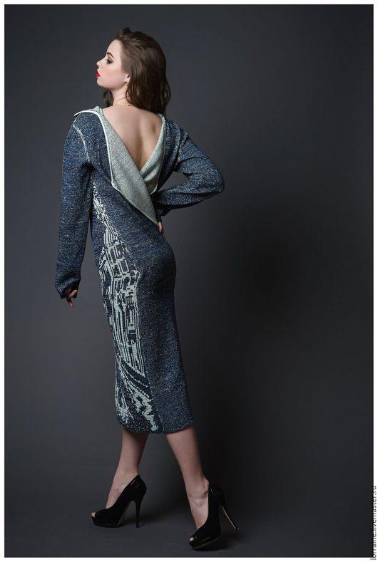 Вязаное платье, платье вязаное, вечернее платье, трикотажное платье, платье с открытой спиной, вырез на спине, платье в пол, сексуальное платье, вечер, романтика, город, рисунок, весенняя мода, мятный
