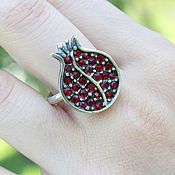 Украшения handmade. Livemaster - original item Garnet ring with zircons made of 925 GA0049 silver. Handmade.