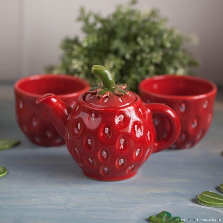 Сервизы, чайные пары ручной работы. Ярмарка Мастеров - ручная работа. Купить Чайник и 2 пиалы. Handmade. Салатник