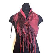 Аксессуары ручной работы. Ярмарка Мастеров - ручная работа Марсала Нуно-войлочный шарфик. Handmade.