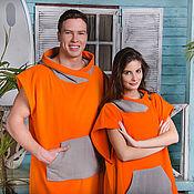 Одежда ручной работы. Ярмарка Мастеров - ручная работа Серф пончо оранжевое. Handmade.