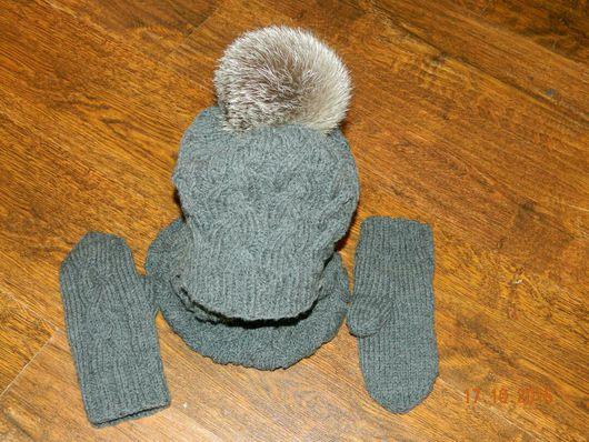 Шапки и шарфы ручной работы. Ярмарка Мастеров - ручная работа. Купить Шапка и снуд. Handmade. Темно-серый, однотонный