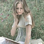 Одежда ручной работы. Ярмарка Мастеров - ручная работа Вышитый корсет из льна в винтажном стиле. Handmade.